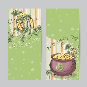 Set of vertical banners for st. patrickus day with horseshoe and pot of gold