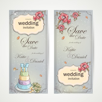 Set of vertical banners wedding invitations with red poppies, cake and a bouquet of roses