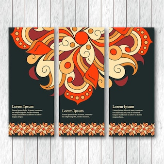 Set of vertical banners with hand drawn abstract tribal elements.