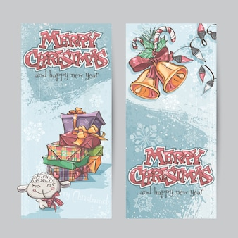 Set of vertical banners with the image of christmas gifts, garla