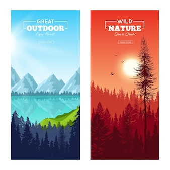 Set of vertical banners with realistic pine forest near mountain lake and at sunset isolated