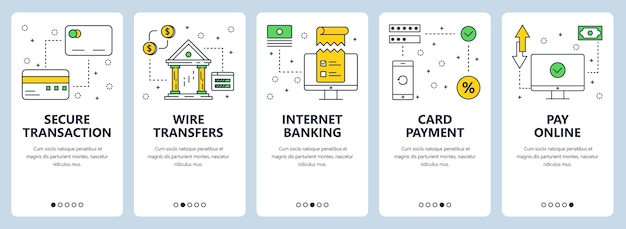 Set of vertical banners with secure transaction, wire transfers, internet banking, card payment, pay online website templates.