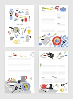 Set of vertical card templates for making notes about cooking homemade meals