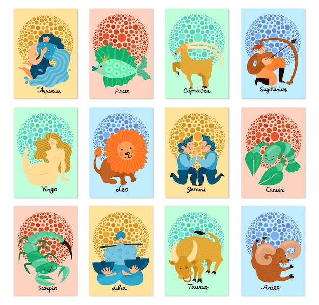 Set of vertical cards with hand drawn zodiac signs isolated on pastel background