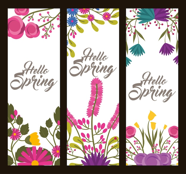 Set of vertical floral banners delicate hello spring blossoms leaves and branches