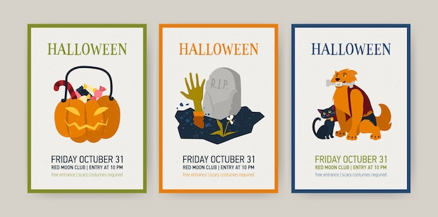 Set of vertical holiday cards or invitation templates with halloween characters