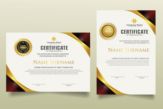 Set vertical and horizontal certificate template with luxury and elegant texture modern pattern background.