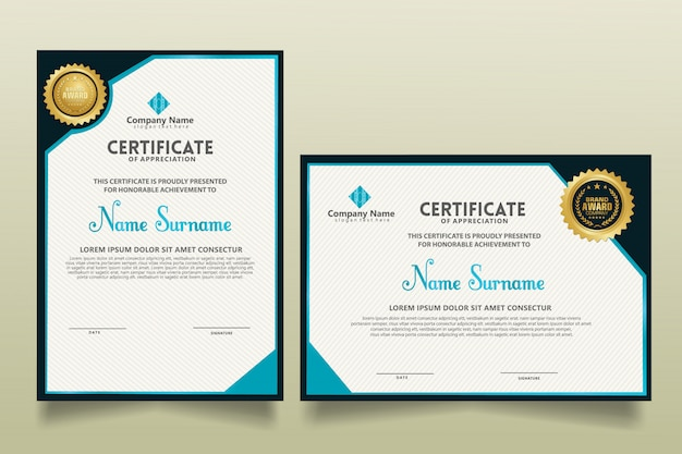 Set vertical and horizontal modern certificate template with futuristic and dynamic texture modern pattern background.