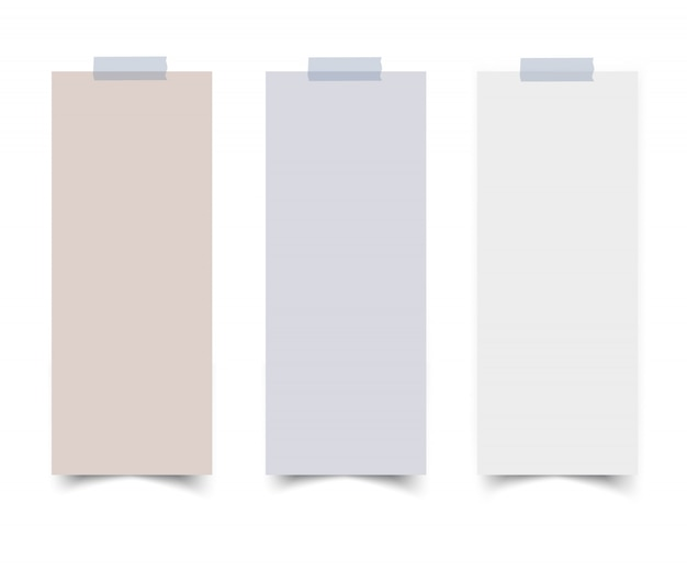 Set of vertical paper card banners