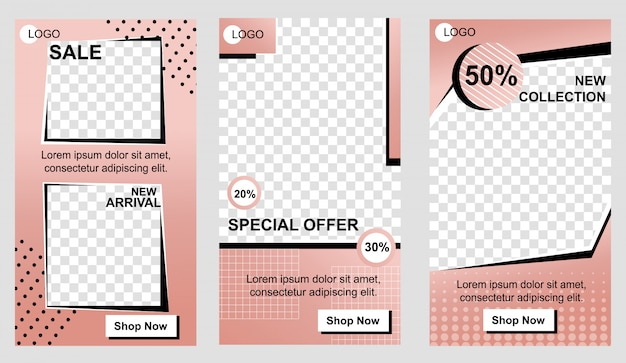 Set of vertical promo landing pages for business