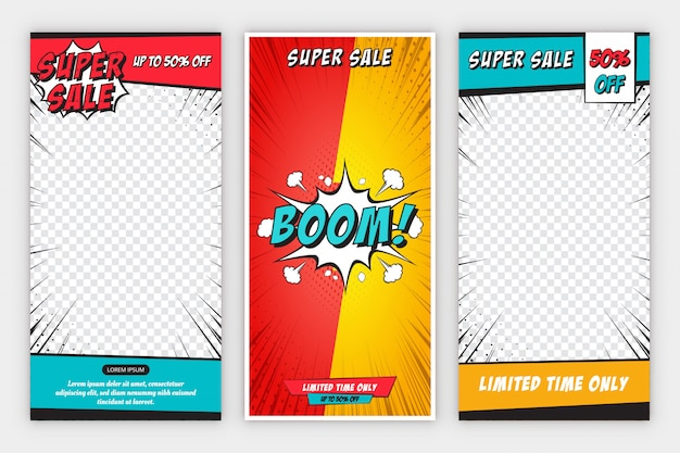 Set vertical sale banner background with comic style
