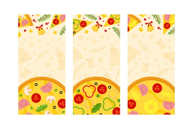 Set of vertical templates with christmas pizza, spruce branches and jingle bells.