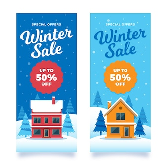 Set of vertical winter sale banners