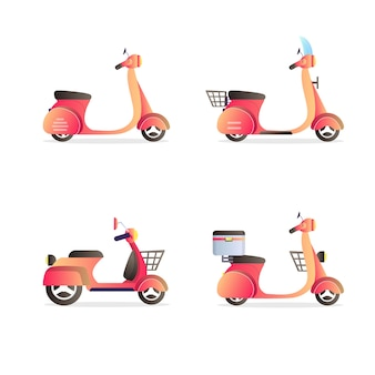Set vespa scooter vehicles collection illustration