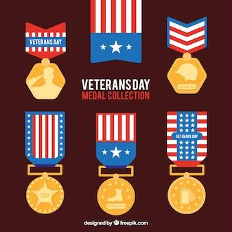 Set of veterans day flat logos