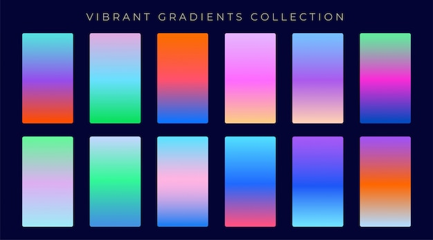 Set of vibrant colorful gradients