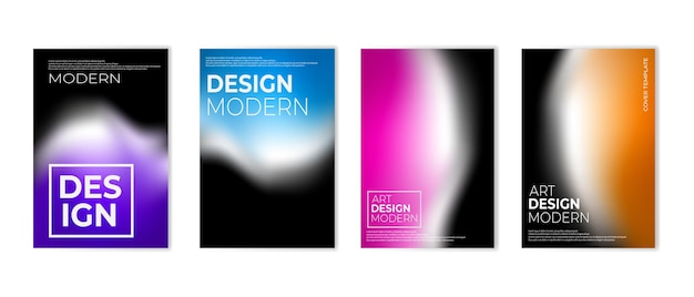 Set of vibrant gradient color background colorful cover design template vector illustration