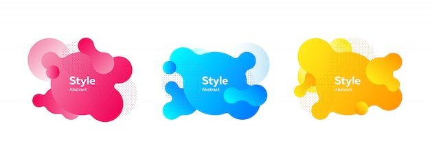 Set of vibrant liquid shapes for presentation banner