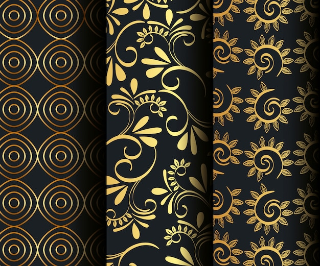 Set victorian and floral golden seamless patterns