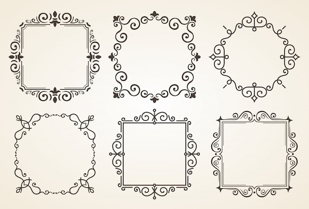 Set of victorian vintage decorations elements and frames