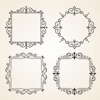 Set of victorian vintage decorations elements and frames.