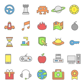 Set of video game icon