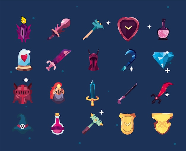 Set of video game icons