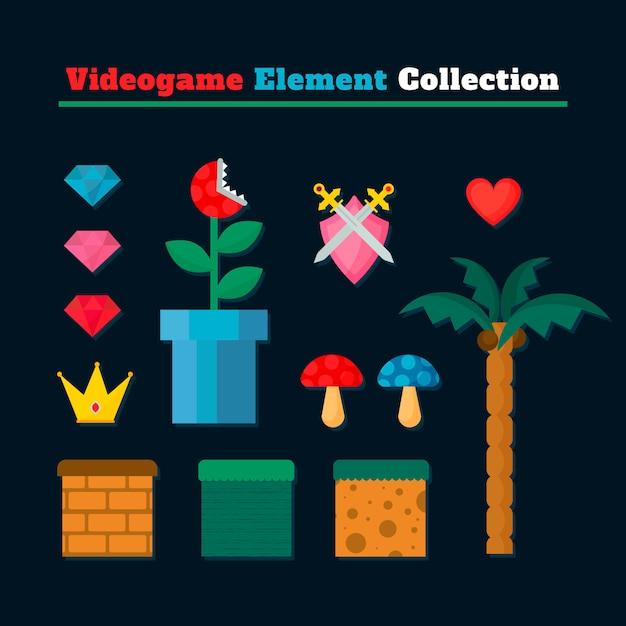 Set di videogiochi scene elementi