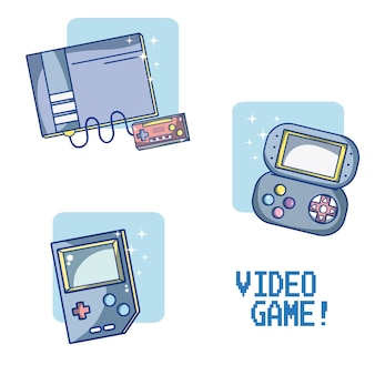 Set of videogame and consoles vector illustration graphic design