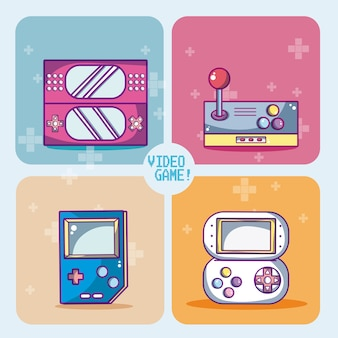 Set of videogames icons in colorful squares vector illustration graphic design
