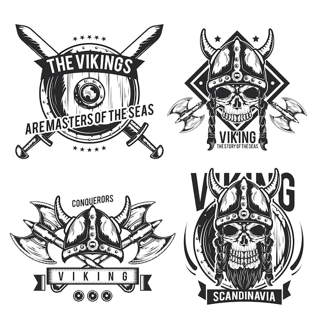 Set of viking emblems, labels, badges, logos. isolated on white