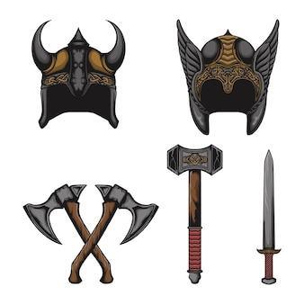 Set of viking equipment and vector