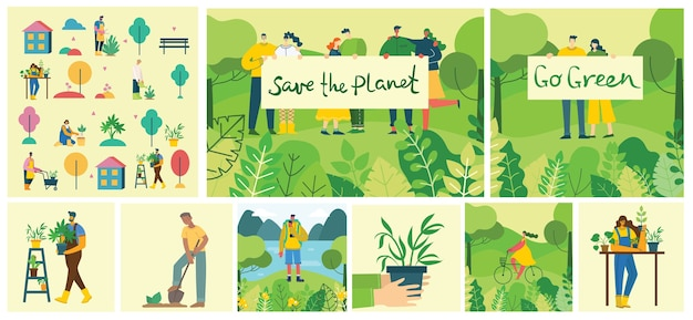 Set of village people with organic food, flowers and plants in the flat design