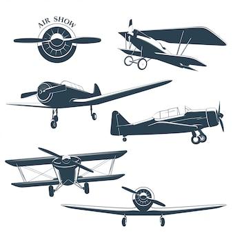 Set of vintage airplane  illustration