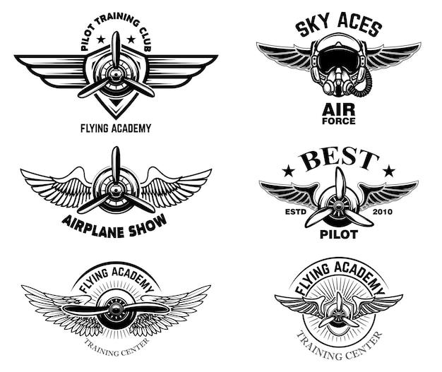 Set of vintage airplane show emblems