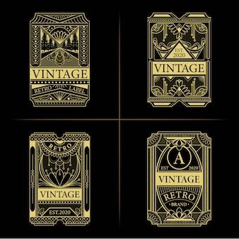 Set of vintage art deco labels