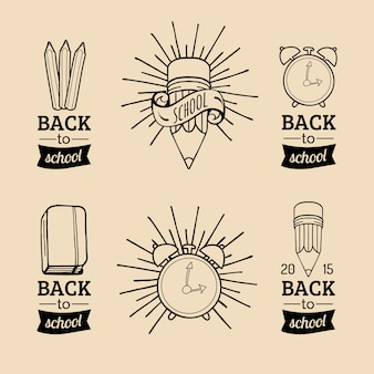 Set of vintage back to school labels. retro signs, icons collection with educational equipments. knowledge day design concepts.