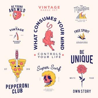 Set of vintage badges design vector