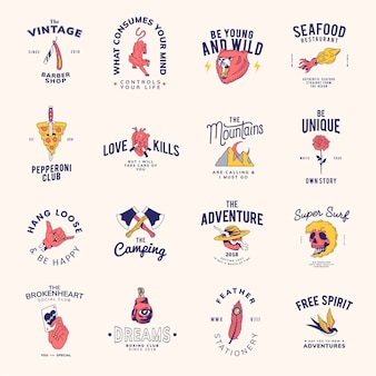 Set of vintage badges design vector