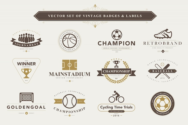 Set of vintage badges and labels. Premium Vector