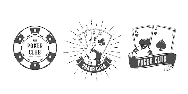 Set of vintage badges with playing cards and chips