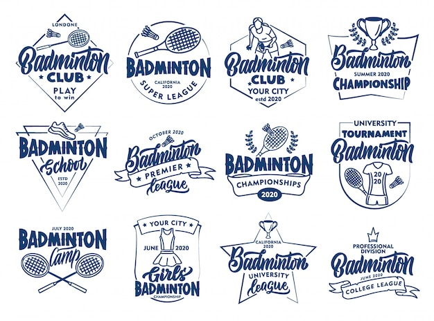 Set of vintage badminton emblems and stamps. badges, stickers on white background isolated.