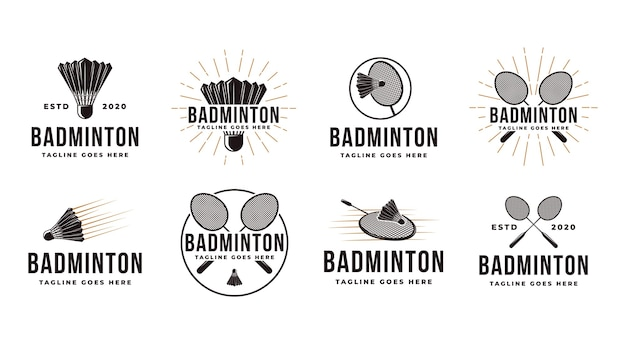 Set of vintage badminton logo with shuttlecock and racket