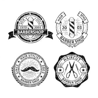 Set of vintage barber shop badge