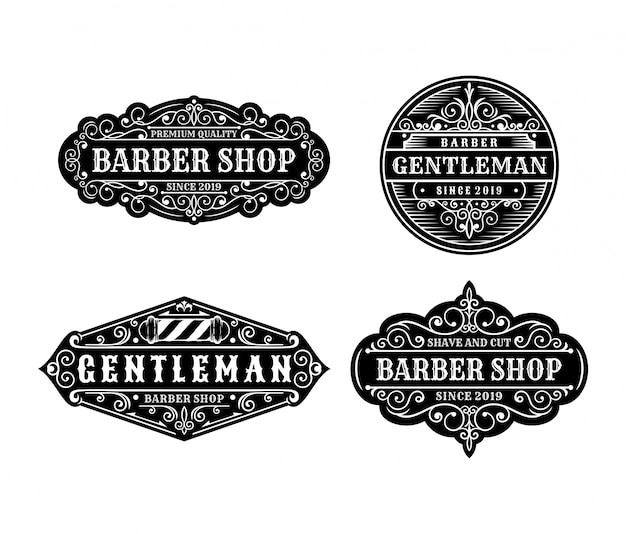 Set of vintage barbershop label design, calligraphy and typography elements styled design