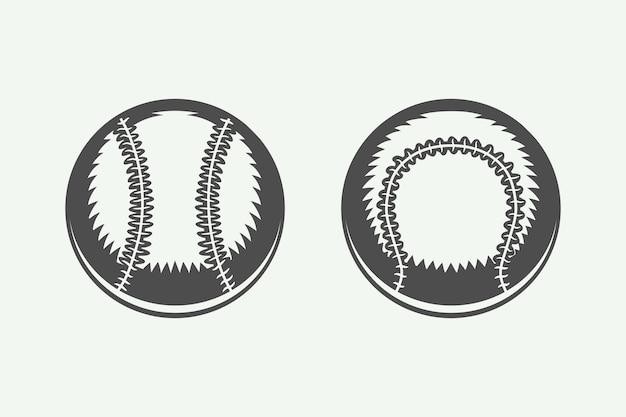 Set of vintage baseball balls