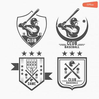 Set of vintage baseball labels and badges. baseball player