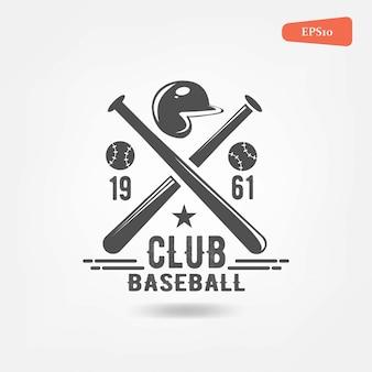 Set of vintage baseball objects, logo template.