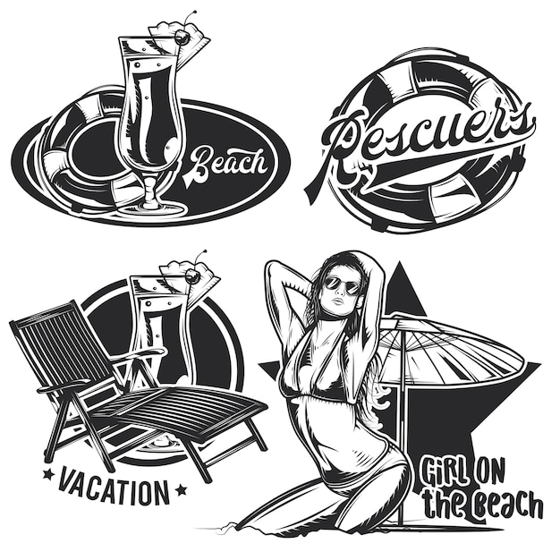 Set of vintage beach emblems
