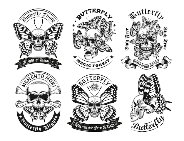 Set of vintage black and white skulls and butterflies labels